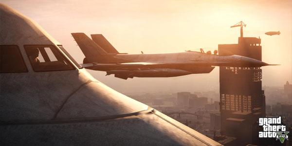 GTA 5 passenger plane and jet fighter